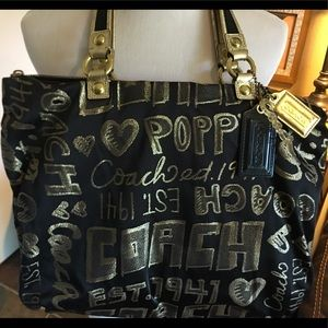 Coach Bags - Coach Black and Gold Poppy Tote